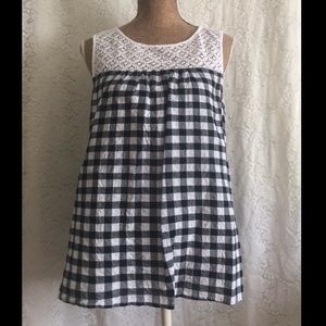 Gingham print top with lace